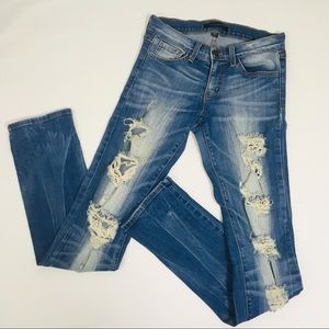 Flying Monkey Low Rise Straight Distressed Jeans